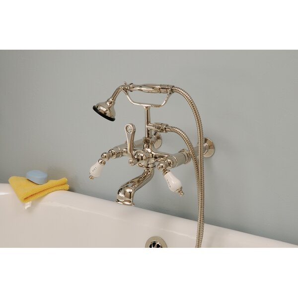 Triple Handle Wall Mounted Clawfoot Tub Faucet with Diverter and Handshower by Strom Living Strom Living