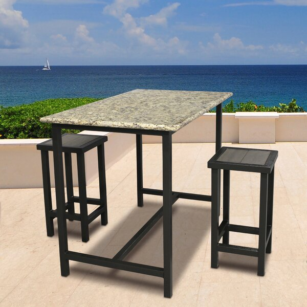 Weatherby 3 Piece Bar Height Dining Set by Latitude Run