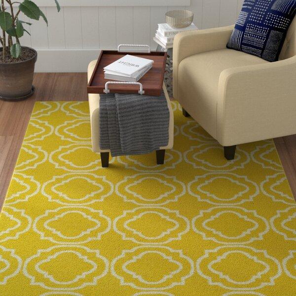 Tyesha Yellow & Cream Indoor/Outdoor Area Rug by Winston Porter