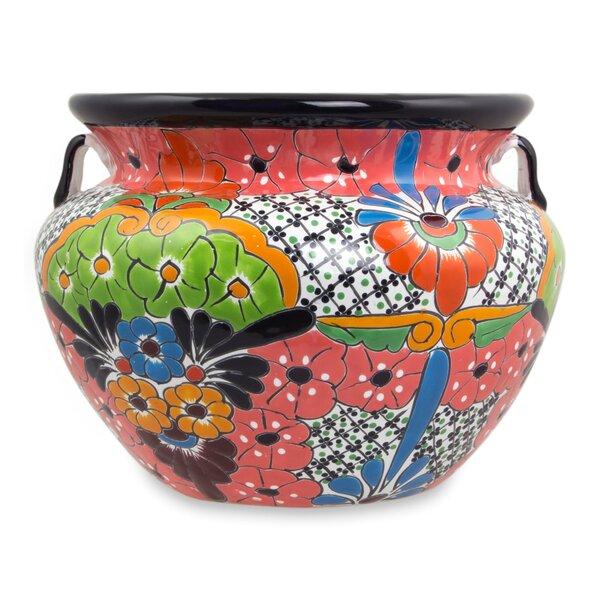 Talavera Flower Ceramic Pot Planter by Novica