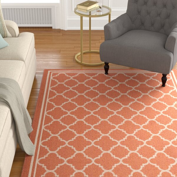 Octavius Orange Outdoor Area Rug by Charlton Home
