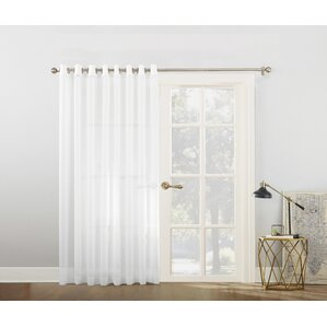 Emily Voile Sliding Door Patio Solid Semi Sheer Single Curtain Panel
