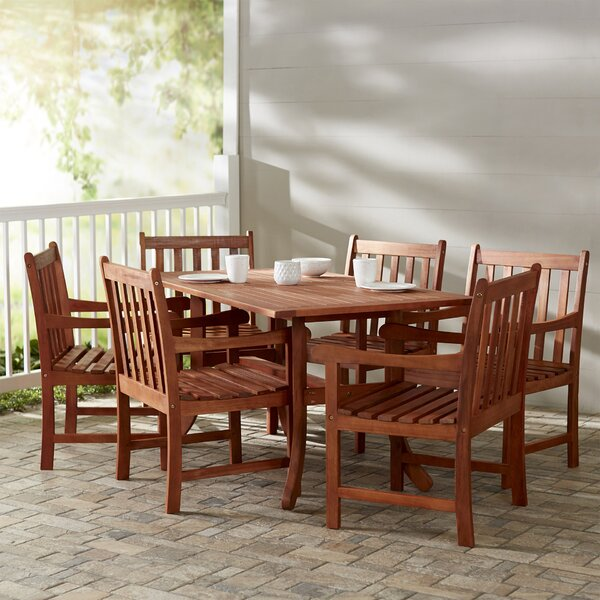 Monterry Traditional 7 Piece Eucalyptus Dining Set by Beachcrest Home