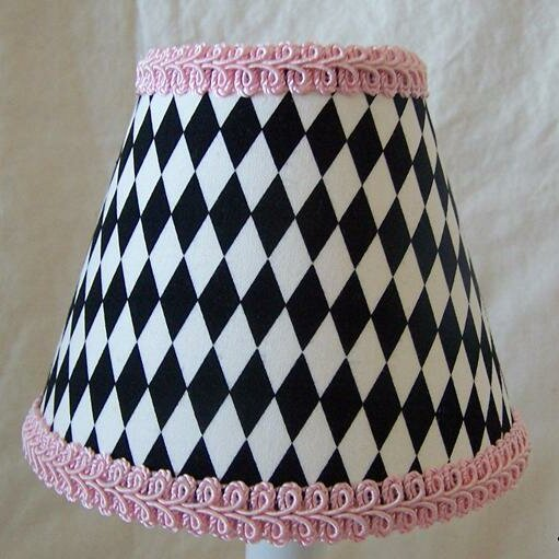 Harlequin 4 H Fabric Empire Candelabra Shade ( Clip On ) in Pink/Black/White