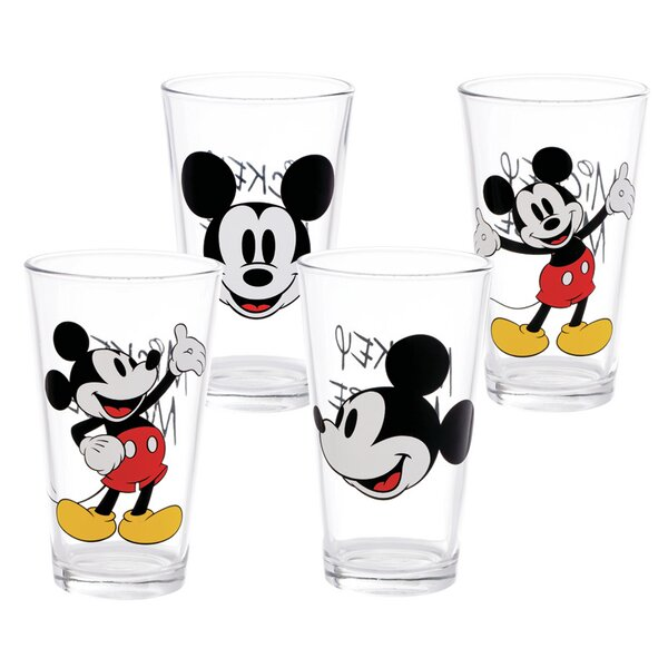 Disney Mickey Mouse 4 Piece 16 oz. Glass Evevy Day Glass Set by Vandor LLC