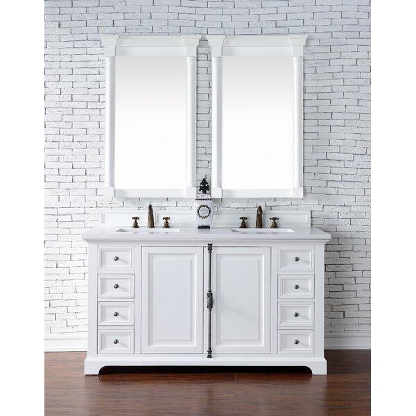 Ogallala 60 Double Rectangular Sink Cottage White Bathroom Vanity Set by Greyleigh
