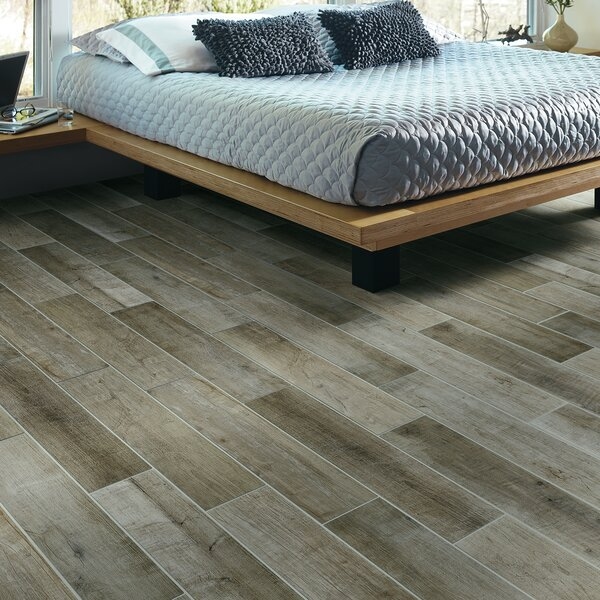 County Line 6 x 36 Porcelain Wood Look Tile in Pewter by PIXL