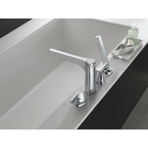Zura Double Handle Deck Mounted Roman Tub Faucet Trim With Diverter And Handshower By Delta