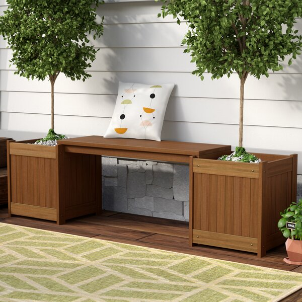 Arianna Rectangular Wood Planter Bench by Langley