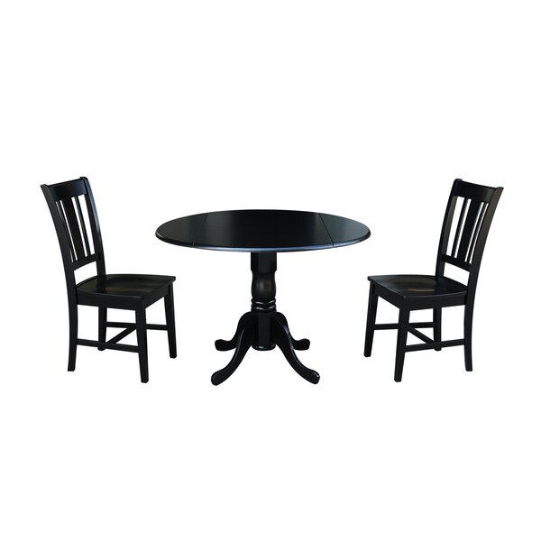 Amezquita 3 Piece Drop Leaf Solid Wood Dining Set by Loon Peak