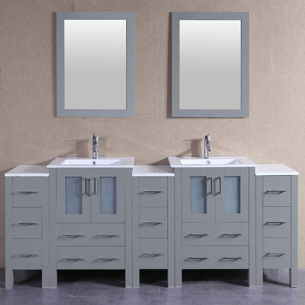 Cubix 86 Double Bathroom Vanity Set with Mirror by Bosconi