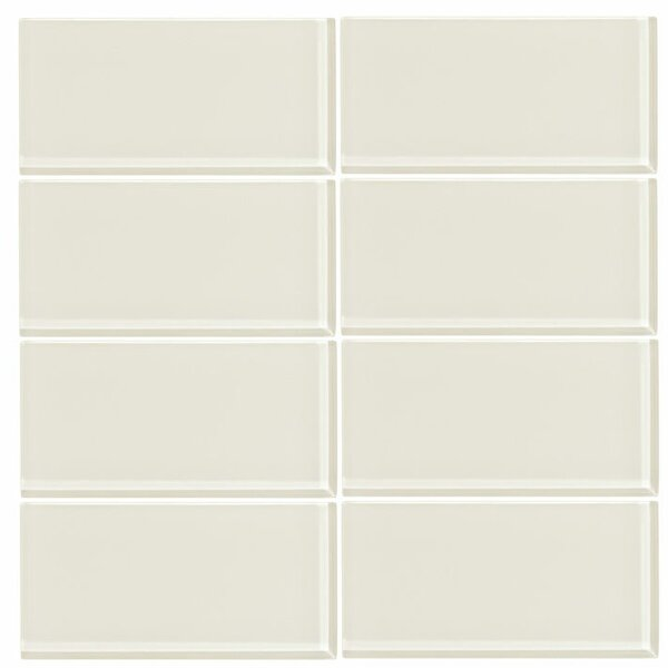 3 x 6 Glass Subway Tile in Glossy Cream by Vicci Design