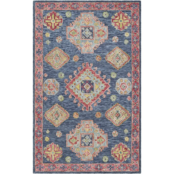 Alongi Hand Hooked Wool Navy/Red Area Rug by Bungalow Rose