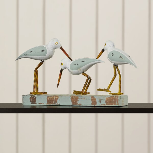 Wood/Metal 3 Birds on Stand Figurine by Beachcrest Home