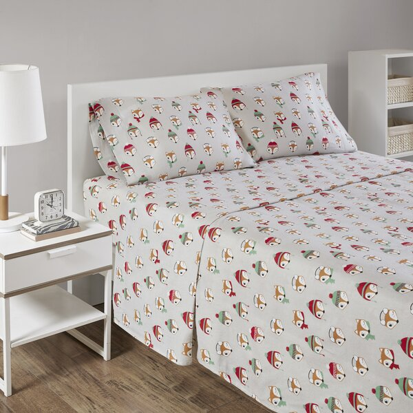 Sereno Cozy Soft Cotton Fox Print Sheet Set by Harriet Bee