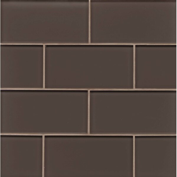 Hamptons 3 x 6 Glass Subway Tile in Glossy Cliff by Bedrosians