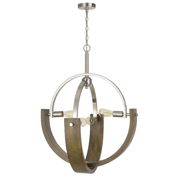 Ramessu 4 - Light Unique Geometric Chandelier with Wood Accents by Gracie Oaks Gracie Oaks