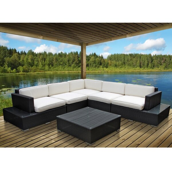 Port 6 Piece Rattan Sectional Set with Cushions by Modway