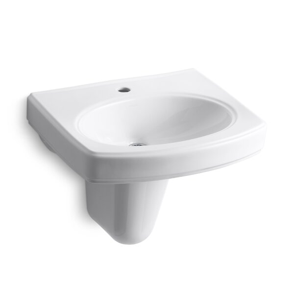 Pinoir Vitreous China 22 Semi Pedestal Bathroom Sink with Overflow by Kohler