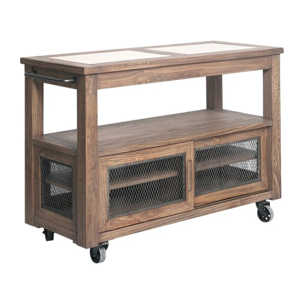 Johanna Farmhouse Kitchen Cart with Stainless Steel Top by 17 Stories