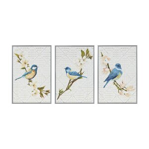 'Trellis Song Birds Blue' 3 Piece Framed Graphic Art Print Set on Wood by Ophelia & Co.