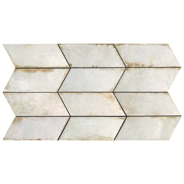 Relic Chevron Left 5.5 x 12.75 Porcelain Field Tile in Bianco by EliteTile