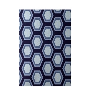 Inexpensive Geometric Navy Blue Indoor/Outdoor Area Rug By e by design