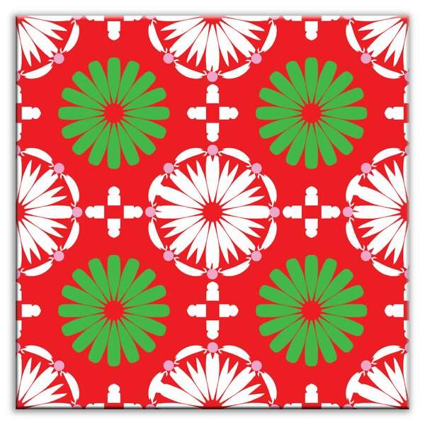 Folksy Love 4-1/4 x 4-1/4 Glossy Decorative Tile in Kaleidoscope White-Green-Red by Oscar & Izzy