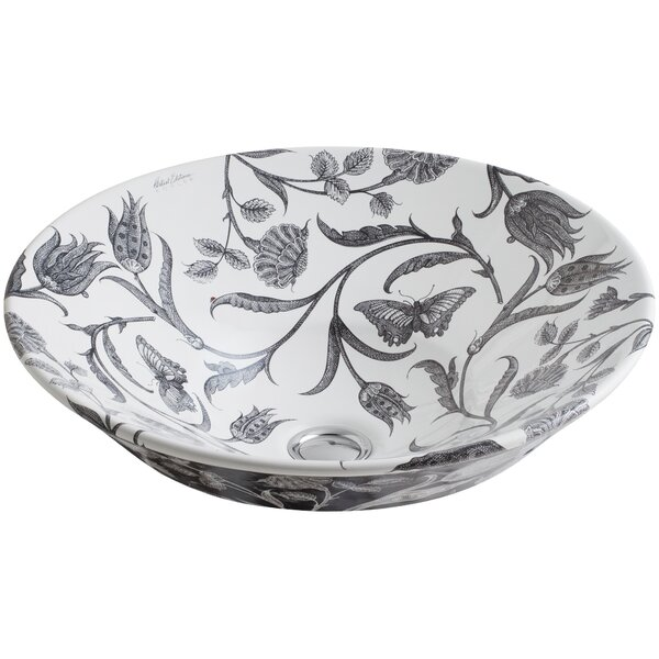 Botanical Study Ceramic Circular Vessel Bathroom Sink by Kohler