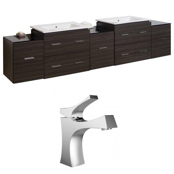 Kyra 90 Double Bathroom Vanity Set with Glass Top by Orren Ellis