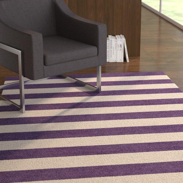 Mellott Stripe Hand-Woven Wool Silver/Dark Violet Area Rug by Latitude Run
