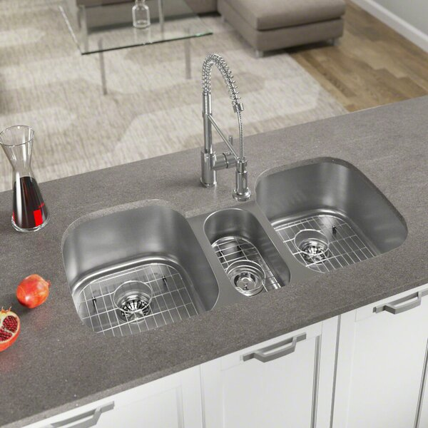 Stainless Steel  43 x 21 Triple Basin Undermount Kitchen Sink by MR Direct