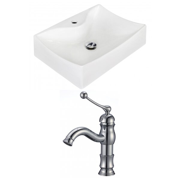 Ceramic 21.5 Wall-Mount Bathroom Sink with Faucet by Royal Purple Bath Kitchen