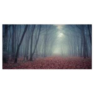 'Retro Style Misty Path in Forest' Photographic Print on Wrapped Canvas by Design Art