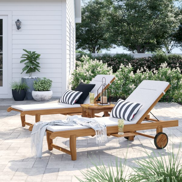 Brighton Reclining Teak Chaise Lounge Set with Table by Sol 72 Outdoor Sol 72 Outdoor