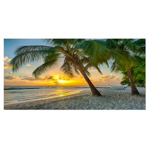 Beach in Caribbean Island of Barbados Photographic Print on Wrapped Canvas by Design Art