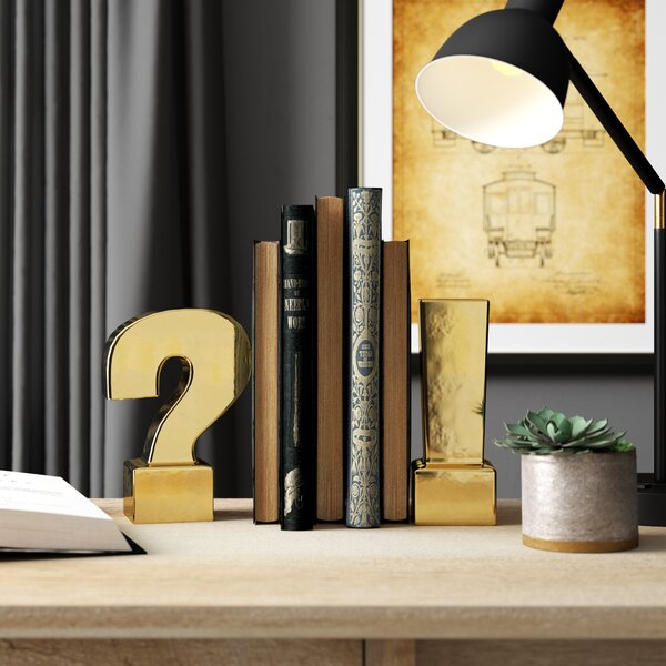 2 Piece Question and Exclamation Mark Bookends by Greyleigh