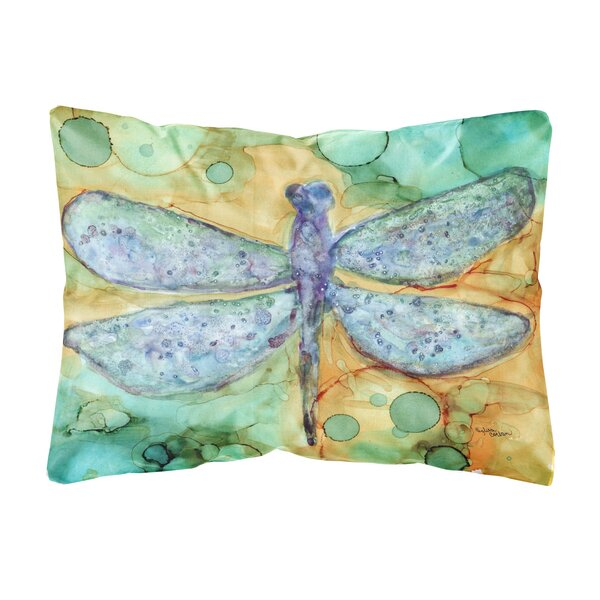 Rowsey Abstract Dragonfly Fabric Indoor/Outdoor Throw Pillow by Winston Porter