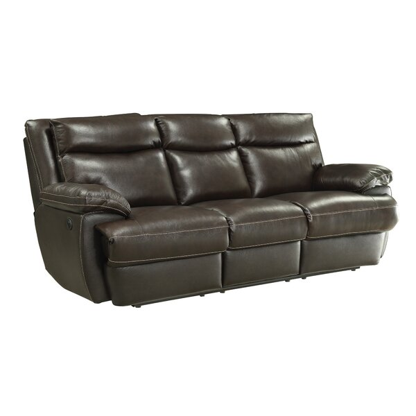 Leocadia Leather Reclining Sofa by Red Barrel Studio