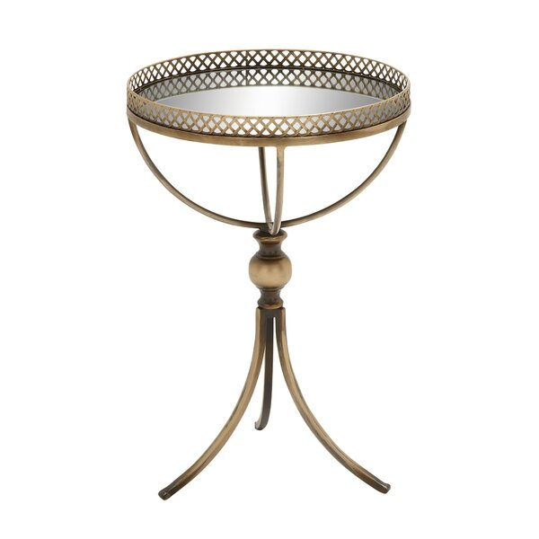 Feliz Metal and Mirror Tray End Table by House of Hampton