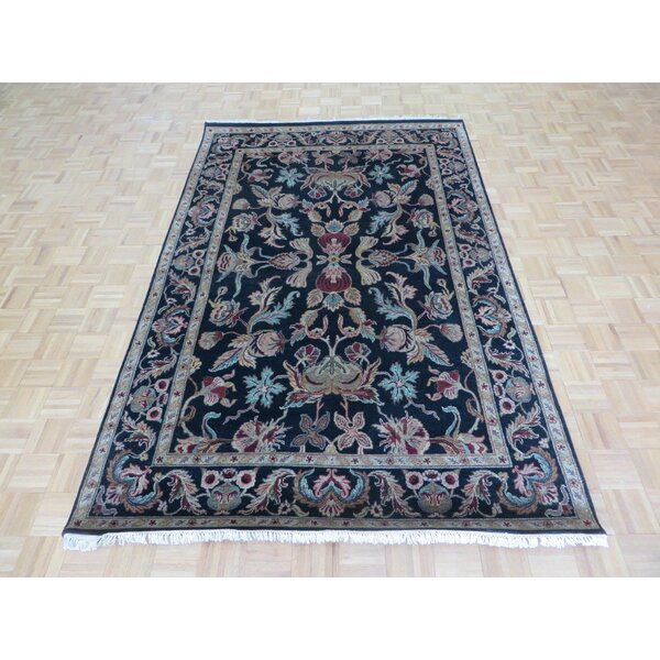 One-of-a-Kind Railey Hand-Knotted Wool Black/Burgundy Area Rug by Astoria Grand