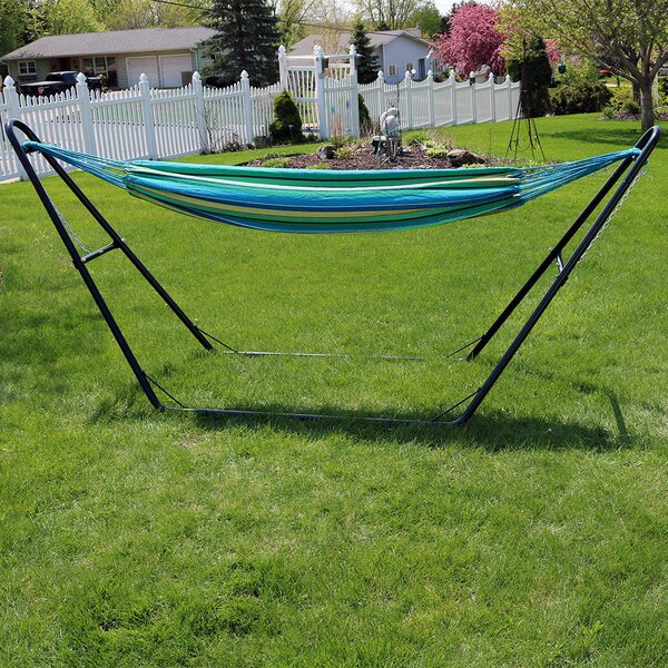 Poirier Cotton Double Spreader Bar Hammock with Stand by Bay Isle Home Bay Isle Home