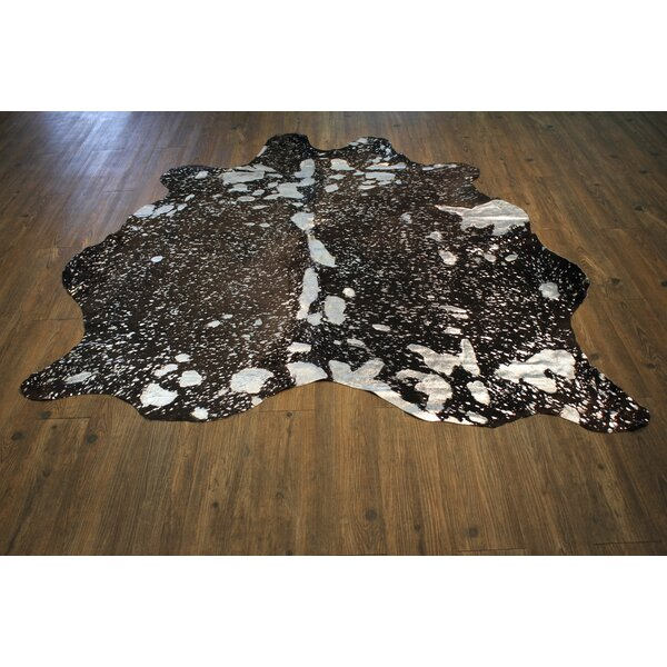 One-of-a-Kind Barra Premium Hand-Woven Cowhide Silver/Black Area Rug by Brayden Studio