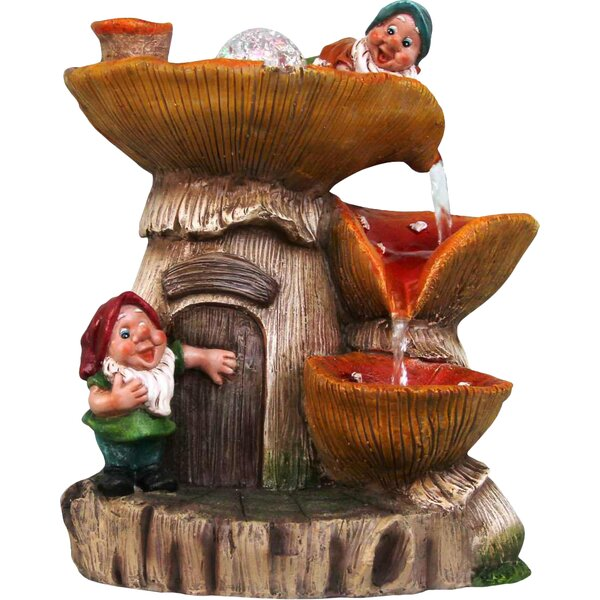 Resin 2 Cute Gnomes Sculptural Fountain by Sintechno