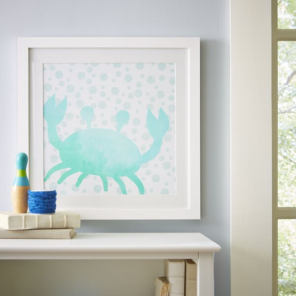 Crab Watercolor Sea Creatures Framed Print by Birch Lane Kids™
