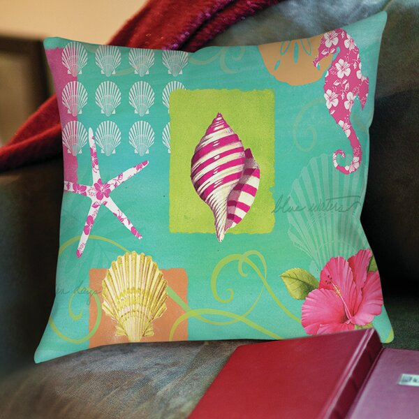 Tropical Beach Printed Throw Pillow by Manual Woodworkers & Weavers
