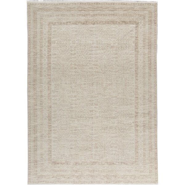 One-of-a-Kind Hand-Knotted Beige 10'2 x 14' Wool Area Rug