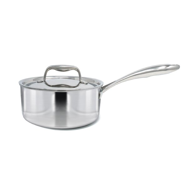 Duratux Tri-Ply Covered Stainless Steel Sauce Pan with Lid by Tuxton Home
