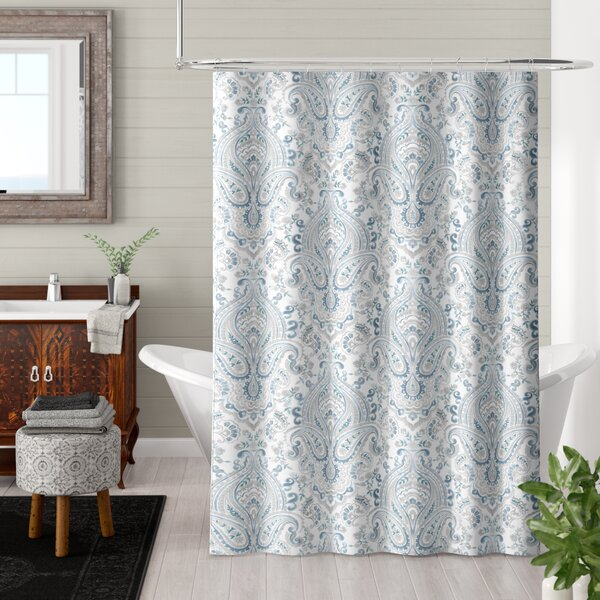 Bengtson Damask Blooms Cotton Shower Curtain by Bungalow Rose
