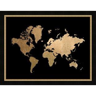 Gold foil world map wayfair gold foil world map framed graphic art print gumiabroncs Gallery